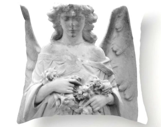 Angel Pillow - Black and White Textile