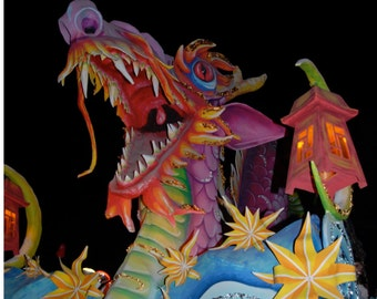 Dragon and Asian Lantern Carnival Float Photograph