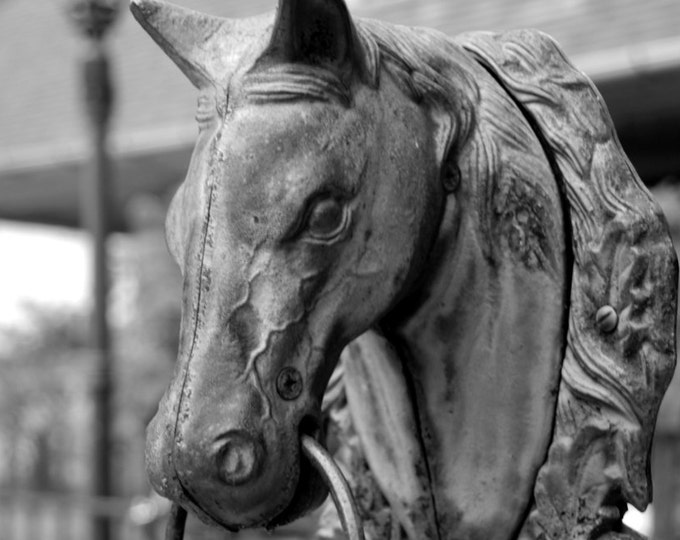 Horse Hitch Post Photo - Southern Photography - Hitching Post Print - Horse Head Ironwork - theRDBcollection - Renee Dent Blankenship