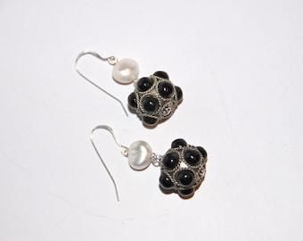Onyx & Pearl Earrings