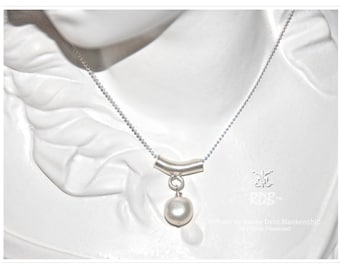 Pearl Pendant on Sterling Necklace