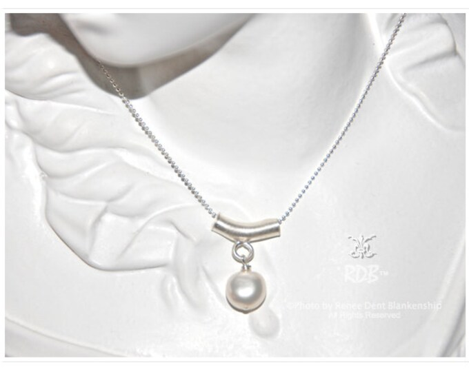 Featured listing image: Pearl Pendant on Sterling Necklace