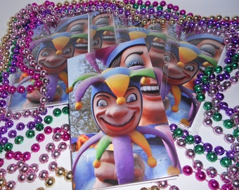 Mardi Gras Jester Greeting Cards - Carnival Notecards - theRDBcollection