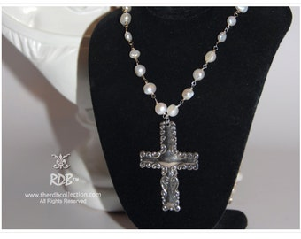 Sterling Victorian Cross on Freshwater Pearls & Sterling Silver Necklace