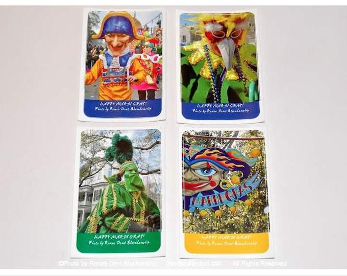 Mardi Gras Stickers - Napoleon, Carnival BirdMan, Mardi Gras Knight, Jester