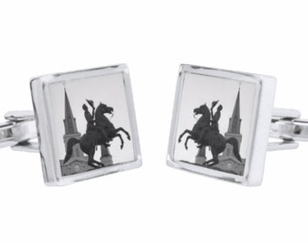 Andrew Jackson and Cathedral Cufflinks - St. Louis Cathedral - Black and White - Silver Men's Accessory - French Cuffs - theRDBcollection