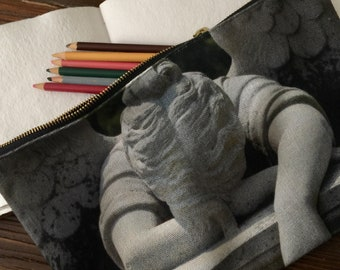 Weeping Angel Clutch - Black and Gray - Handheld Zippered Bag - New Orleans Clutch - Angel Pouch -Artist Original - theRDBcollection