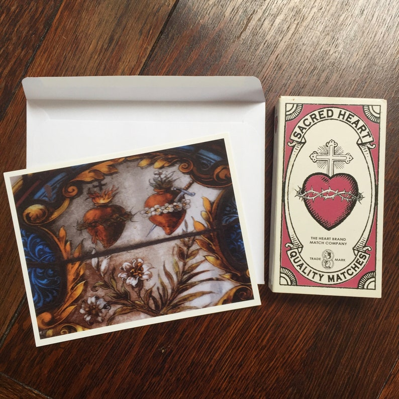 New Orleans Stationery Hearts Lilies and Crown Sacred Hearts Notecards theRDBcollection Red and Blue Cards