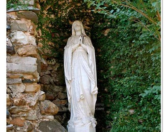 Mary in Grotto Photograph - Spring Hill College