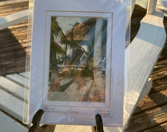 Hut on the Beach Photo Matted and Signed Tiny Art