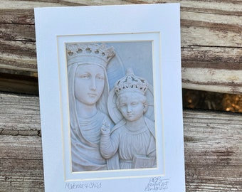Madonna and Child Photo Tiny Art - Marble Mary and Jesus Art Small Photo Matted and Signed