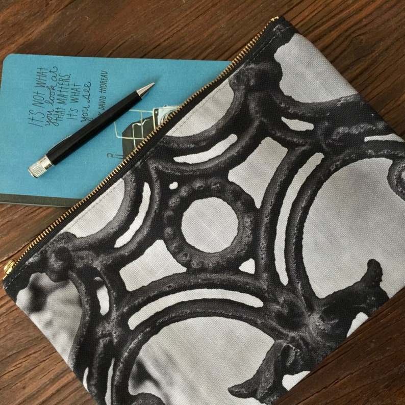 Ornate Ironwork Photo Handheld Ironwork Zippered Bag Black and Gray Bag Zippered Pouch theRDBcollection New Orleans Clutch