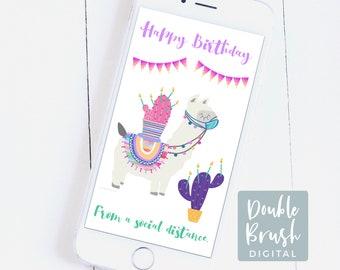 Llama Birthday eCard Social Distancing Mobile Phone Card, Quarantine Digital iPhone Card Llama & Cactus Card Funny Digital Download ECSD009