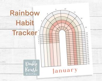 Rainbow Habit Tracker Mid-Century Modern Neutral Rainbow Printable, Minimalist Art Geometric Planner Page, Minimal Scandinavian RHTJAN001A