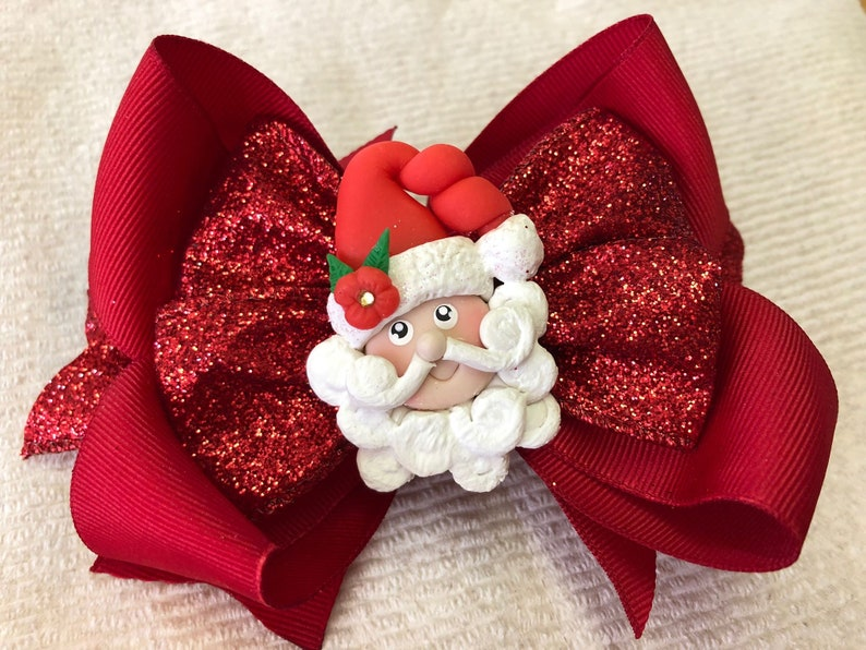0c38287cd7e53 Christmas Red Santa Hair Bow Santa Hair Bow Gliter hair bow
