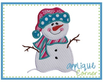 INSTANT DOWNLOAD Snowman with Stick Arms applique design in digital format for embroidery machine by Applique Corner