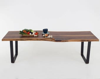Live Edge Table on Steel U-Legs Made from two Walnut Boards, Industrial Furniture, Handcrafted Custom Furniture -JOLIE