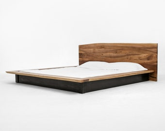 8c9e822ca4798 Walnut Bed Frame and Headboard in Twin