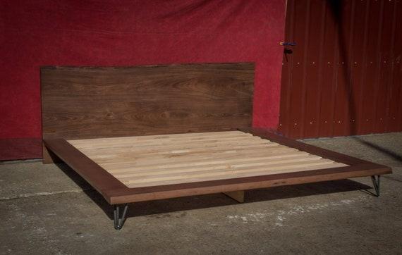 Platform Bed Frame King Size Bed Solid Wood Bed Frame Live Etsy