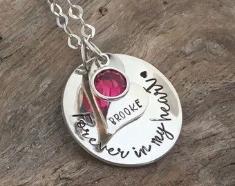 Forever In My Heart Memorial Necklace, Personalized Jewelry, family loss Gift , Infant Loss Gift , Sterling silver, Personalized Jewelry