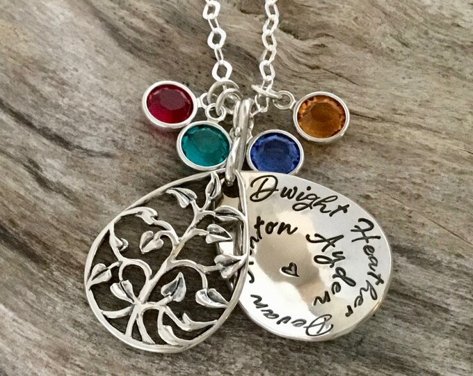 Christmas gift, Family Necklace, Family Tree Necklace, Birthstone Necklace, Gift for Grandmother, Grandma Necklace, Tree Of Life