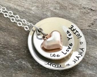 Christmas Gift for Grandma, Grandma Necklace, Gift for her, Grandmother Necklace, Heart Necklace, Grandma Gift, Gift for Grandmother