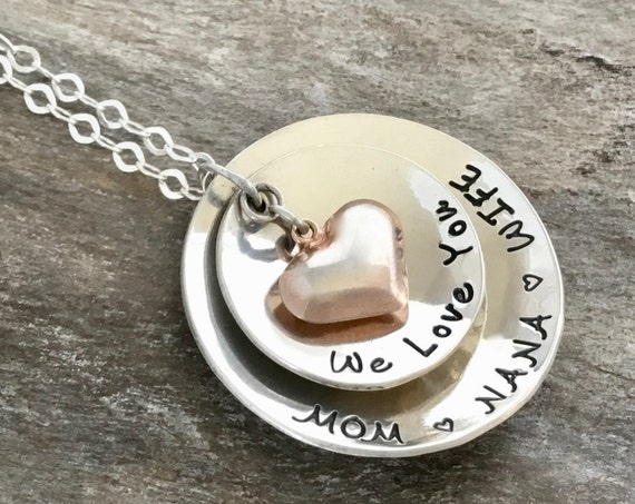 Christmas Gift for Grandma, Grandma Necklace, Gift for her, Grandmother Necklace, Heart Necklace, Grandma Gift, Gift for Grandmother