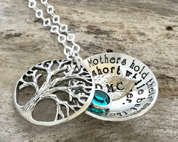 Mothers Day Personalized, Family Tree Necklace, Sterling Silver Family Tree Jewelry, Family Tree Gift, Family Necklace, Birthstone