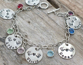 Birthstone Bracelet for Mom, Mom Gift, Mom Bracelet with Kids Names, Birthstone Bracelet, Personalized  Bracelet, Sterling silver