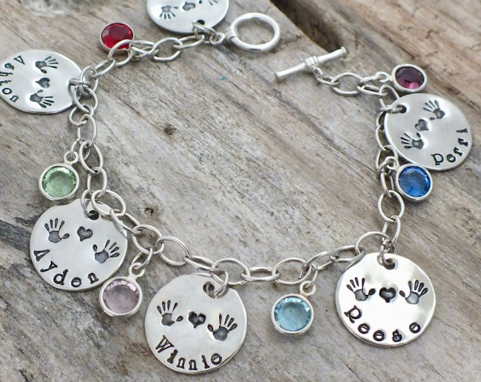Birthstone Bracelet for Mom, Mom Gift, Mom Bracelet with Kids Names, Birthstone Bracelet, Personalized  Bracelet, Sterling silver