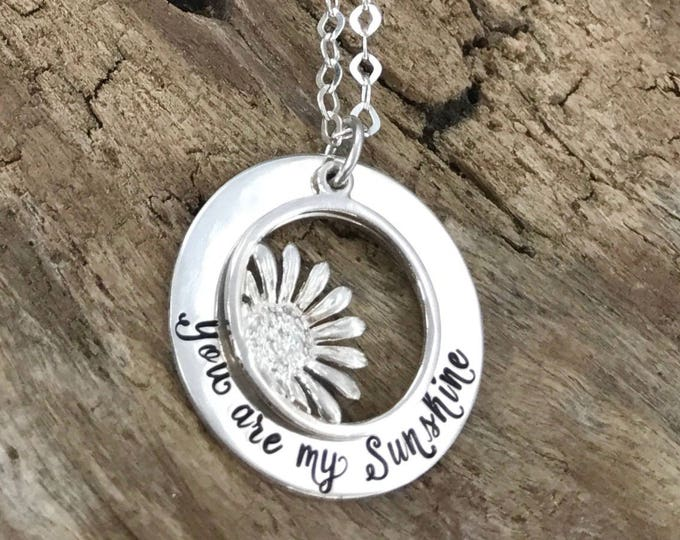 Mothers Day Necklace, You Are My Sunshine Necklace, Sunflower pendant necklace, sun charm necklace, sunshine jewelry, Sterling Silver