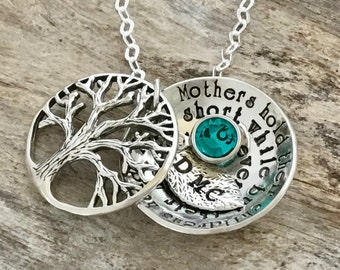 Mothers Birthstone Necklace | Family Tree Necklace For Mom | Personalized Mothers Necklace | Gifts For Mom | Personalized Mommy Necklace