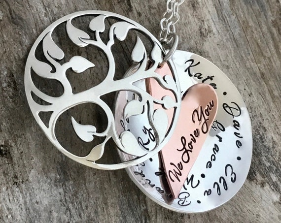 Mothers Day Personalized, Grandma Necklace, Family Tree Necklace For Grandmother, Sterling, Grandma Necklace, Christmas Gift For Grandmother