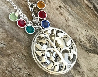Mothers Day Gift, Birthstone Necklace, Sterling Silver, Mom Necklace, Family Necklace, Gift Mom, Personalized Jewelry, Birthstone Jewelry