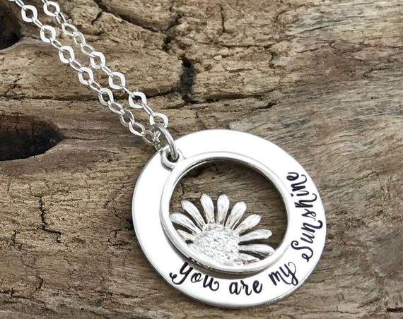 You are my sunshine necklace, granddaughter gift, long distance relationship, Sentimental gift for Grandma, Sterling Silver