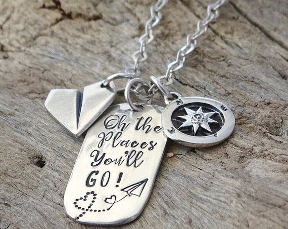Retirement Gift, Teacher Retirement gift, Coworker gift, Retirement Jewelry, Retirement Necklace, Travel Gift, Oh the places you'll go
