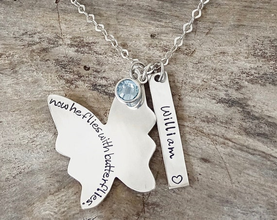 Memorial Jewelry Sympathy Gift, Sterling Silver Personalized Butterfly wing Necklace, remembrance jewelry, personalized bereavement gift