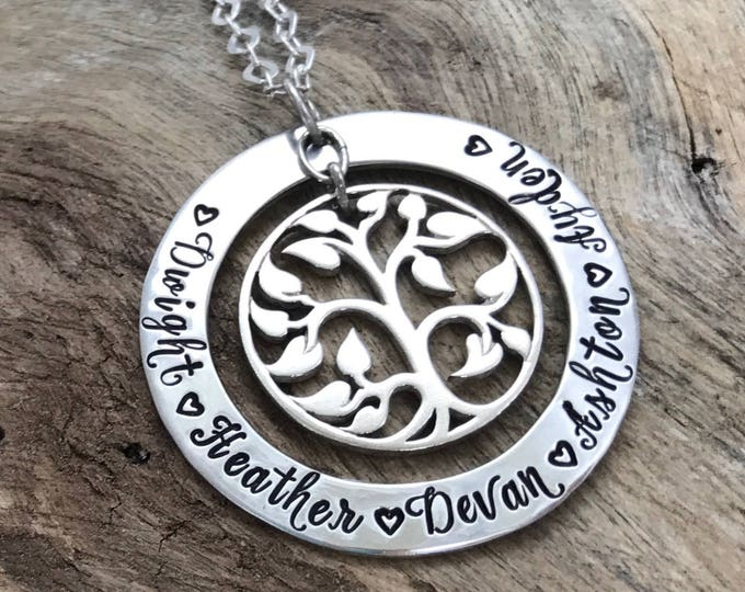 Tree of Life Necklace, Tree Necklace, Tree Jewelry, Tree of Life Charm Necklace, Sterling Silver Tree of Life, Family Tree Name Necklace