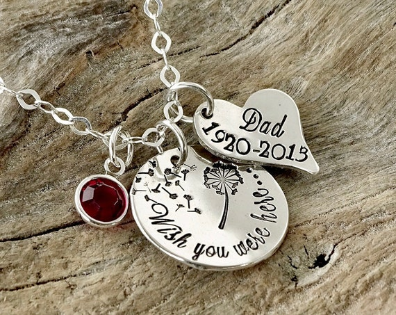 Memorial Necklace, Wish You Were Here, Personalized Hand Stamped Necklace,Remembrance Jewelry, Loss Of Loved One,