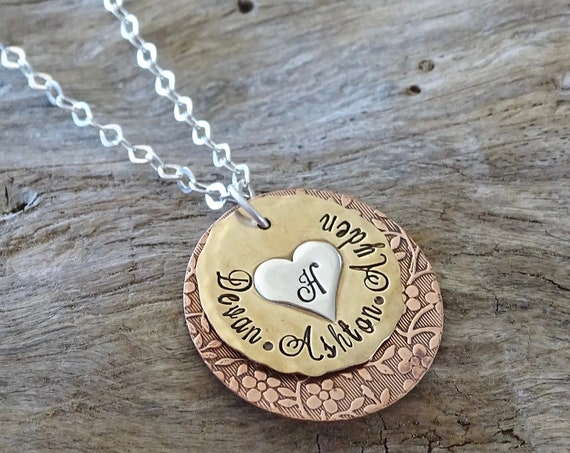 Mixed metal jewelry, Custom Grandmother necklace, Personalized necklace, Hand stamped necklace, Layered necklace, Gift for Grandmother