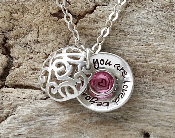 Birthstone Necklace for Daughter, Sterling Silver Personalized  Daughter Jewelry, Daughter Necklace from Mom Dad
