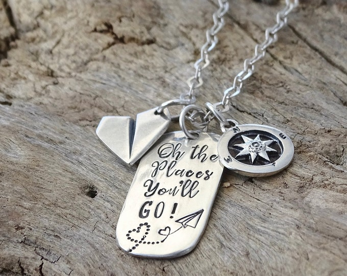 Oh the places you'll go! College graduation gift - Compass -Graduation gift for her - High School Graduation gift - Graduation Necklace