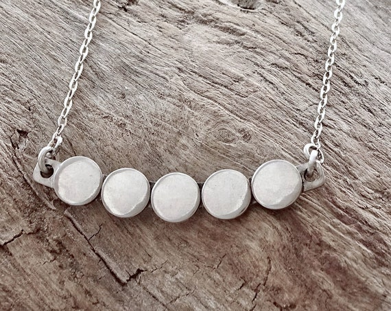 Circle Bar Necklace, Sterling Silver, Circle Choker, Layered Pendant, Layering Jewelry