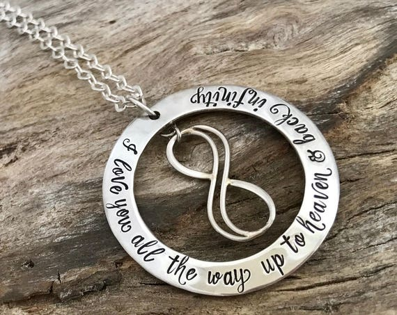 I Love You to Heaven and Back Infinity Necklace, Memorial jewelry, Missing you necklace, Personalized memorial necklace, Funeral gift