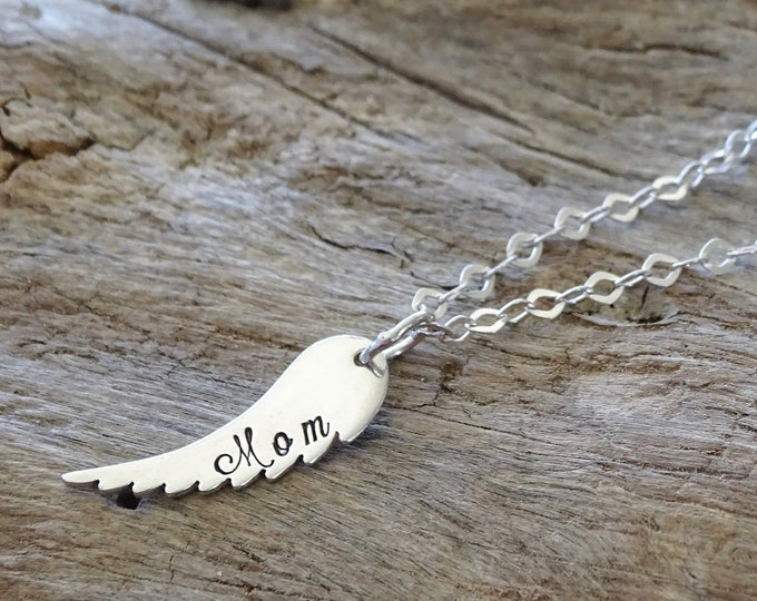 Sterling Silver Small Angel Wing Name Necklace - Memorial necklace - Memory Necklace