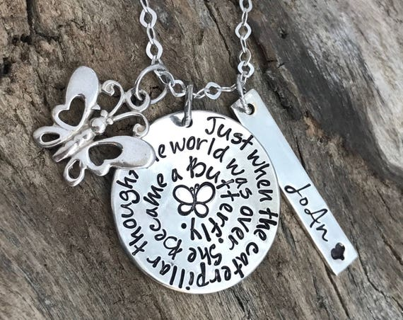 Butterfly necklace Jewelry, Butterfly Memorial, Memory Necklace, Personalized Necklace, Remembrance Gift, Gift for loss of a loved one