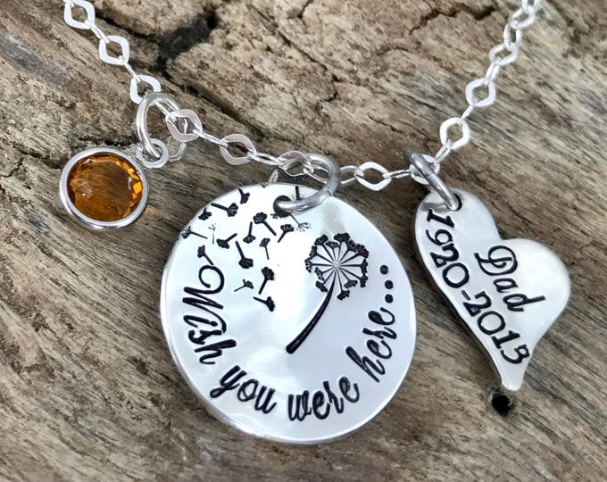 Loss of a Friend, Wish you were here, Memorial Jewelry, Dandelion Necklace, Friend memorial,  In memory of friend, sterling silver