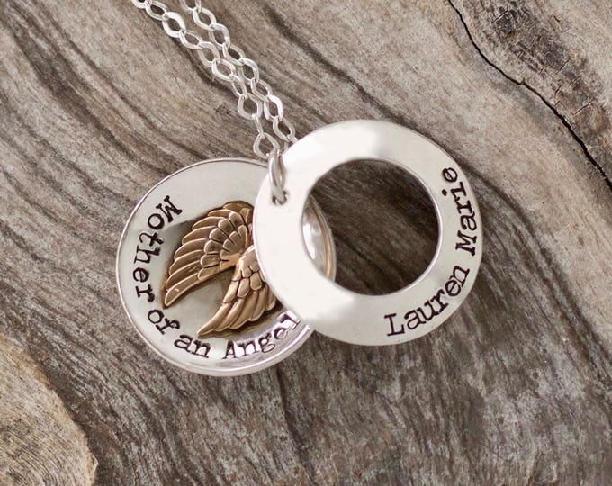 Angel Mom, Memorial Necklace, Memorial Gift Idea, Remembrance Jewelry, Sympathy Jewelry, Loss of Mom, Loss of Mother, Sympathy Gift