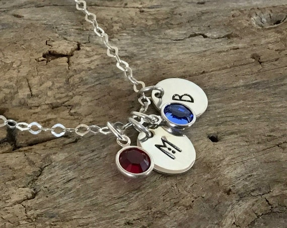 Sterling silver Initial Necklace with Birthstone, Create your own initial Jewelry, Square initial Necklace, Round initial Necklace