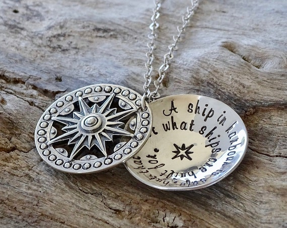Inspirational Jewelry with meaningful message,  Sterling Silver strength Necklace, Christmas gift for someone who is strong and courageous